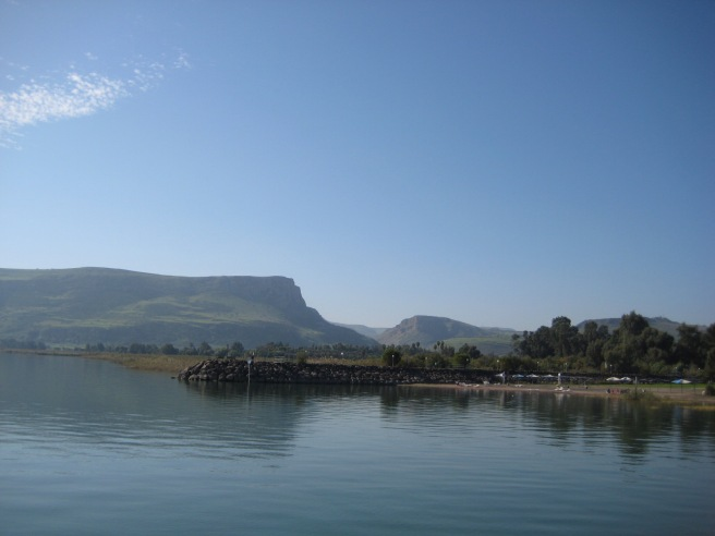 A view of Arbel from the Sea of Galilee