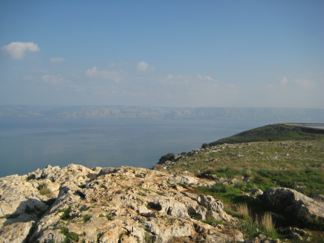 Viewing the Sea of Galilee from Mount Arbel