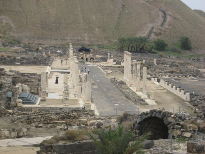 """Bet Shan; this city is important because it illustrates the Romanization of the Jew at the time of Jesus. Seen here the """"Cardo"""" or main street."""