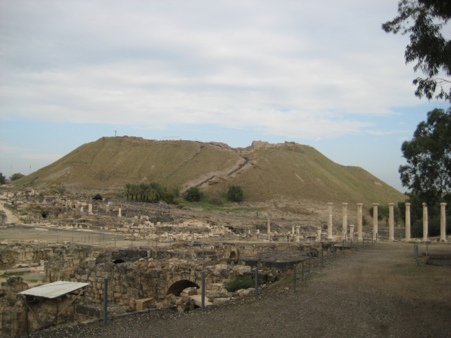 Viewing the old city of Beit She'an; Saul's body was hung in disgrace on this hill.