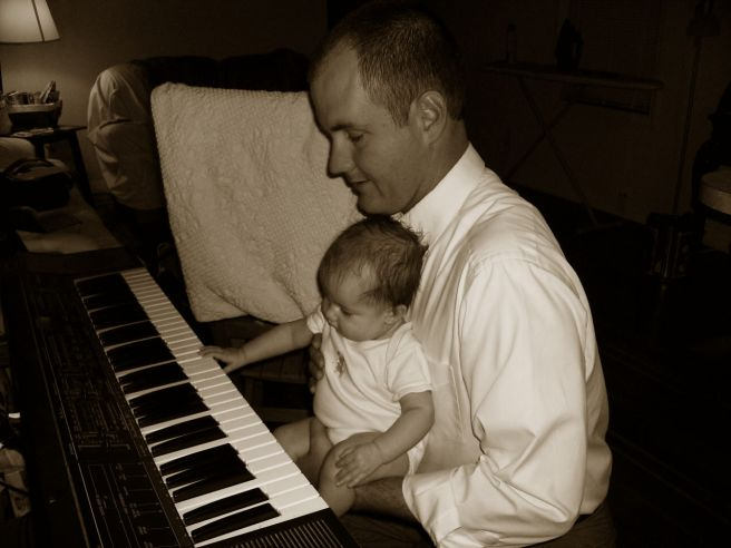 Hope's first and only piano lesson from Daddy