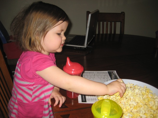 Remember, she wh-eally loves popcorn. Boo-ha!