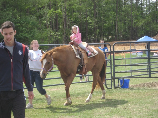 And then... you'll never believe it. Gracie asked to ride the horse!!