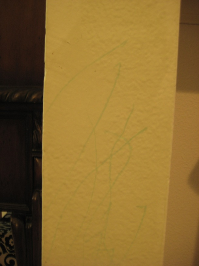 Green marker found scribbled on wall: approximately 9 am