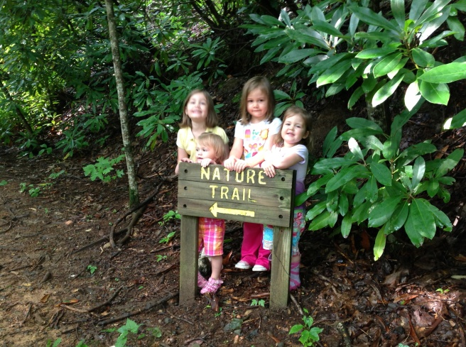 Hiking with four little kids? Oh yes we did! It was a blast! Strangely enough, Mckayla was a little intimidated by the woods and wanted me to carry her the whole time. But it really worked out for the best, I think we went faster that way. And surprisingly enough, Sophia was a little timid as well, but Hope and Gracie ate it up. Kids!