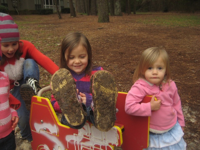Sophia was still super proud of the mud on her shoes.