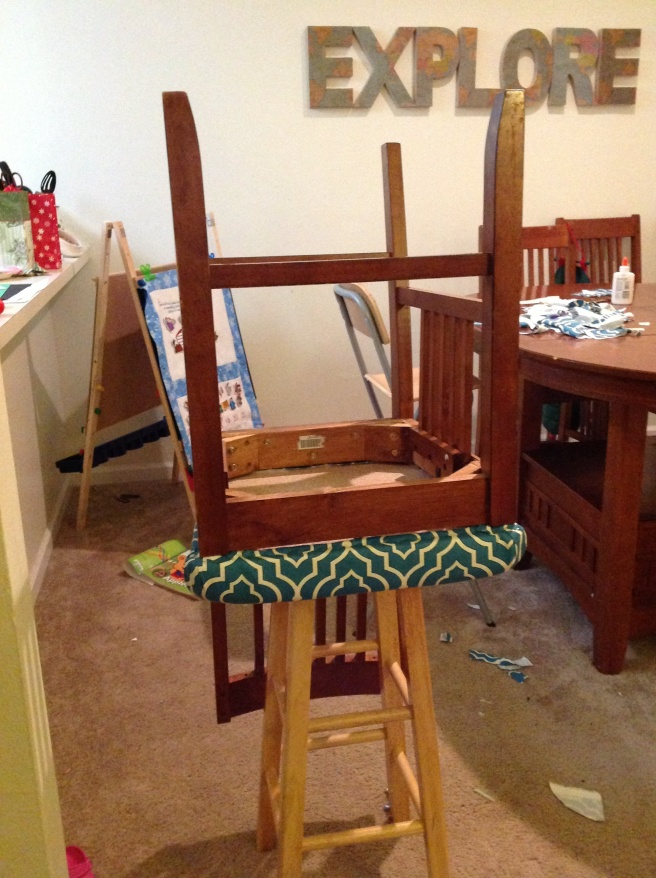 The easiest way to work on the bottom of the chair. And I didn't think of this for awhile. = /