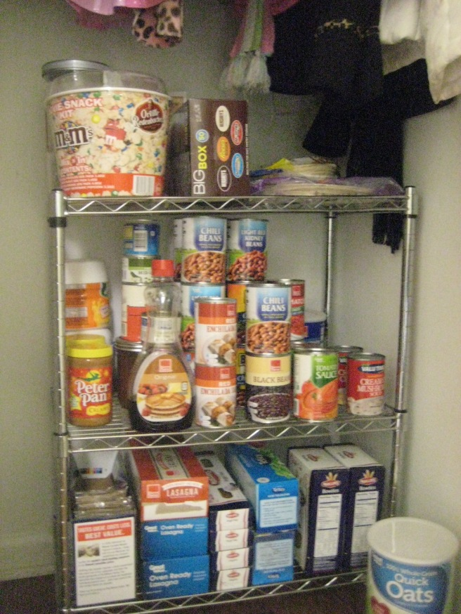 Keep food staples on a small wire shelf underneath coats in closet.