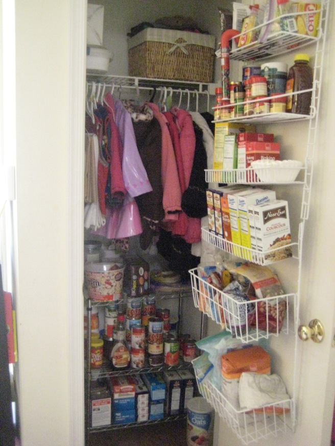 Use your coat closet for a pantry as well.