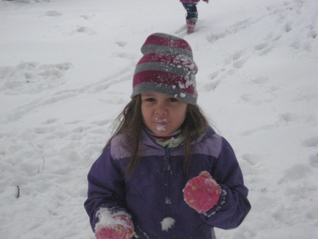 """Sophia, stop eating the snow!"""