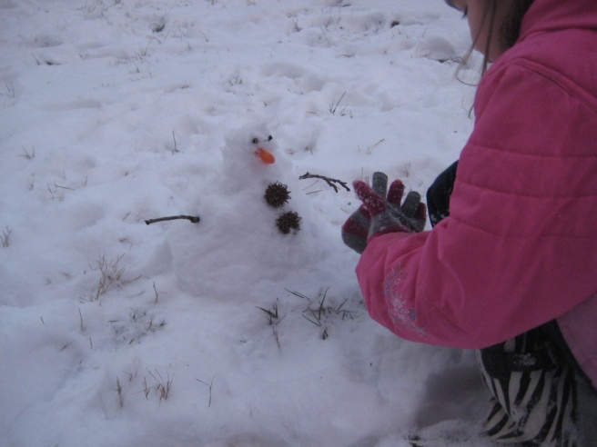Making their first snowman with whatever they could find. No comments on his figure.