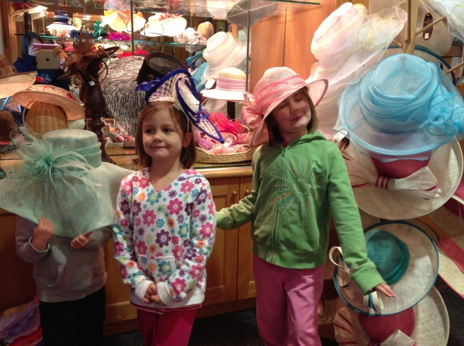 I like Hopey's pose here. And you can see Sophia's choice of hat a little bit better. Still no face from Gracie.