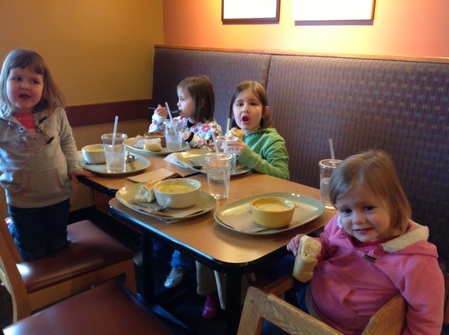 Broccoli cheese soup at Panera. Only Mckayla was skeptical, but the bread won her over and Mommy didn't mind finishing hers.