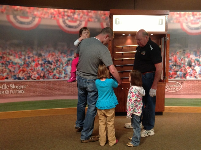 Looking at bats that had been used by current famous players.
