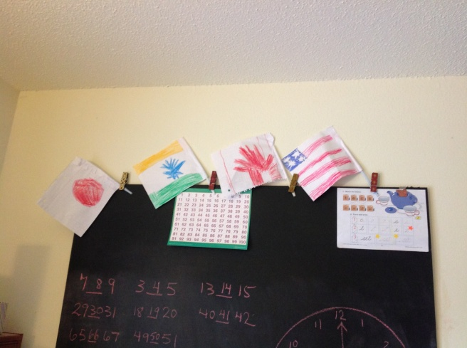 Wish I could take credit for these cool flags being a part of homeschooling. However, it's one of the things the girls figured out on their own while Mommy was napping in the afternoon. = ) Can you tell what countries they represent?