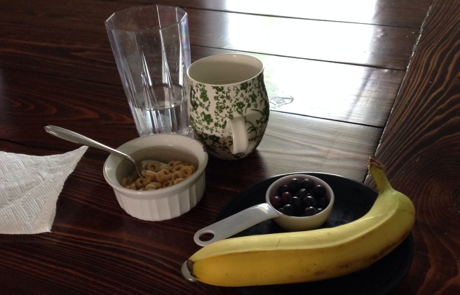 Cheerios in milk, blueberries, banana chunks... and coffee and water to keep mama going.